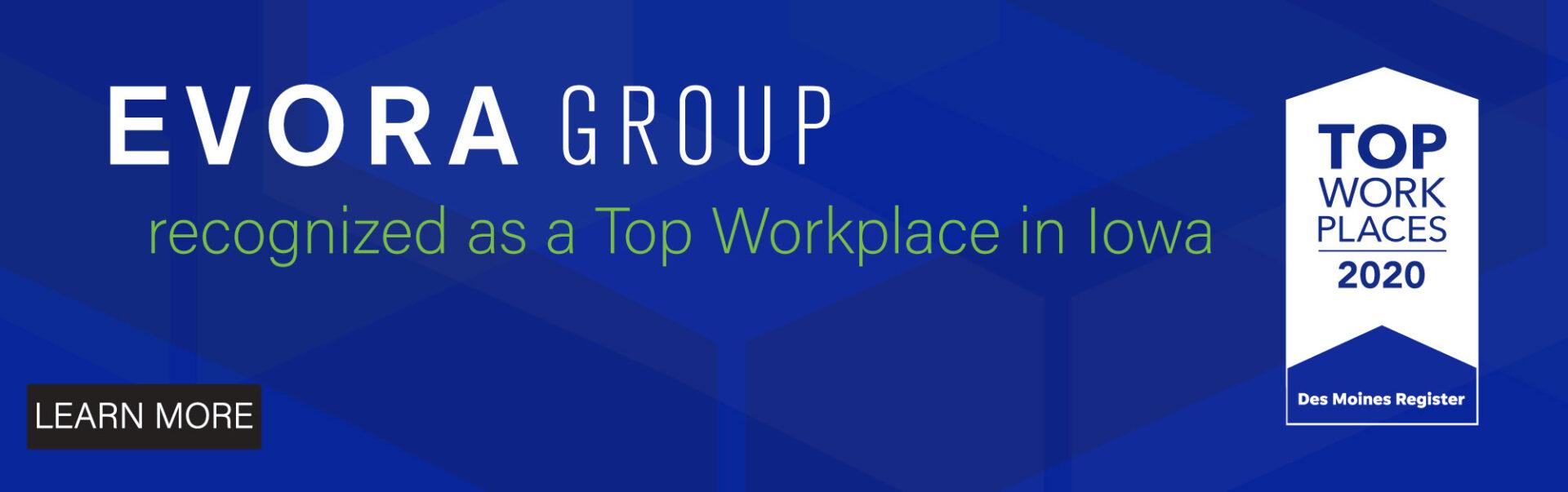 Evora Top Workplace in Iowa Award.